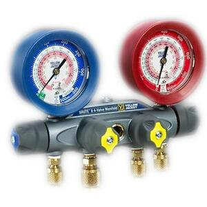 Yellow Jacket 46001 Brute Ii 4 valve Manifold Only Liquid Gauges Bar psi R 410a