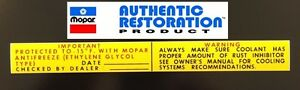1962 1968 Chrysler Plymouth Dodge Antifreeze Coolant Warning Decal Mopar New