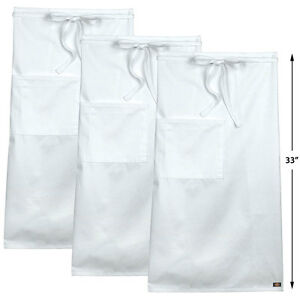 3 pack Dickies Chef Full Bistro Apron With Patch Pocket 33 Long Dc508