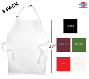 3 pack Dickies Chef Adjustable Bib Apron 28 Long Dc501