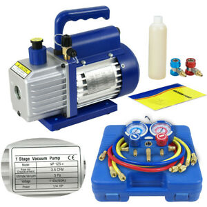Dual Gauge A c Diagnostic Manifold Tester Set R134a 3cfm 1 4hp Vacuum Pump Kit