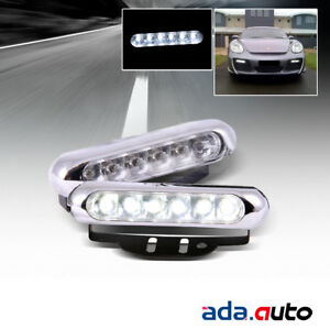 7000k Chrome 6pcs Led Daytime Running Bumper Fog Lights White Lamps
