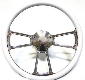 Special Buy Billet And White Vinyl 14 Steering Wheel Chevy Ford Dodge