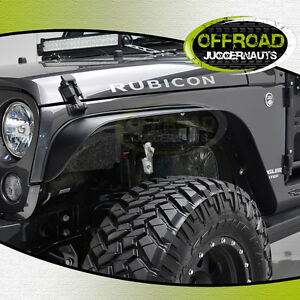 07 17 Jeep Wrangler Jk Flat Style Black Textured Front rear Fender Flares 4pcs