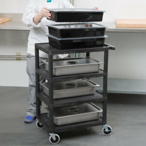 Luxor Bc45 b Plastic 4 Shelf Rolling Storage Serving Utility Cart In Black New