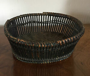 Antique 19th Century Oval Sewing Basket Hand Made Green Paint Decorated