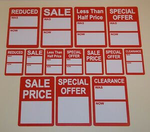 Bright Red Sale Reduced Clearance Price Point Stickers Swing Tag Labels