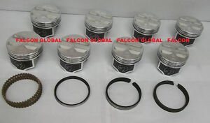 Speed Pro Chevy 327ci Forged Flat Top 4vr Coated Pistons Moly Rings Set 8 Std