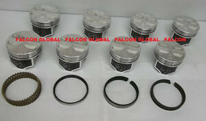 Speed Pro Chevy 327ci Forged Flat Top Coated Skirt Pistons File Fit Rings 060