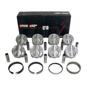 Speed Pro Ford 289 302 Flat Top Hypereutectic Coated Pistons Cast Rings 040
