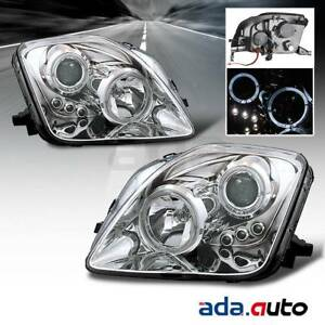 For 1997 2001 Honda Prelude Dual Led Halo Chrome Projector Headlights Lamps