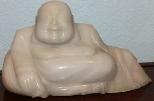 Large Chinese Hand Carved Natural White Jade Happy Buddha Statue
