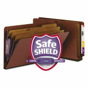 Smead Pressboard End Tab Folders Legal 8 section Red 10 Per Box smd29865