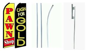 Cash For Gold Pawn Shop King Size Swooper Flag Sign W complete 2 Full Set