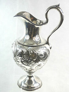 American Coin Silver Presentation Pitcher Maine Militia Civil War Us Military