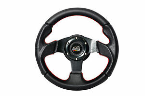 280mm Jdm Steering Wheel Black Pvc Carbon Fiber Look Red Stitching Mugen Emblem