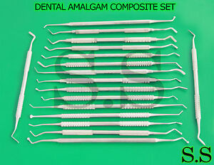 Dental Amalgam Composite Plastic Filling Instruments Set Of 17 Double Ended