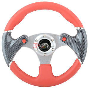320mm Jdm Spec 6 Hole Racing Sport Steering Wheel Black Carbon Fiber Red Pvc
