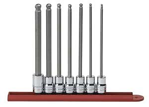 Gearwrench 80574 7 Pc 3 8 Dr Sae Long Ball Hex Bit Socket Set
