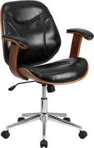 Mid back Black Leather Executive Wood Swivel Office Chair black Walnut Chair