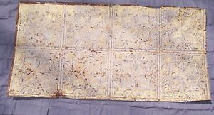Antique Metal Tin Ceiling Tile 48 X 24 Sheet Panel Reclaim Salvage