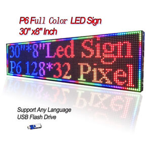 30 x 8 P6 Indoor Full Color Led Sign Programmable Scrolling Message Display