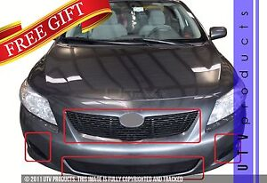 Gtg 2009 2010 Toyota Corolla Le 4pc Gloss Black Overlay Billet Grille Kit