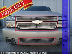 Gtg 2006 Chevy Silverado 1500 Ss 3pc Polished Overlay Combo Billet Grille Kit