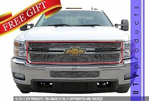 Gtg 2011 2014 Chevy Silverado 2500 3500 2pc Polished Overlay Billet Grille Kit