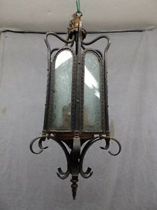 Antique Brass Iron Gothic Ceiling Light Fixture Iced Glass Panels Old Vtg 461 16