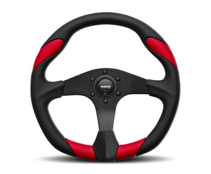 Momo Steering Wheel Quark 350mm Black Urethane Red Leather Qrk35bk0r Brand New