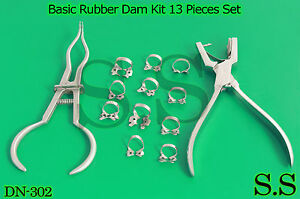 Basic Rubber Dam Kit 13 Pieces Set Dental Surgical Instruments Dn 302
