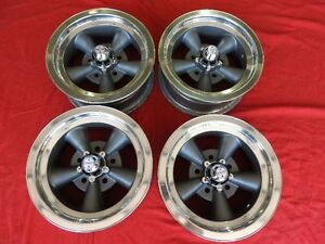Vintage Set Of Real Ansen 5 Spoke Torque Thrust Mags 14x6 4 3 4 Chevy Hot Rod