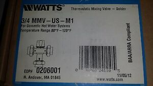 Watts 3 4 Mmv us m1 Thermostatic Mixing Valve