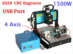 4axis Rotary Cnc Router Engraver 1500w Spindle Usb Mach3 3020 Engraving Kit