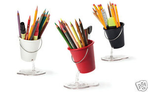 3 Pack Desk Bucket Black Red White Desk Office School Organizer Peleg Design