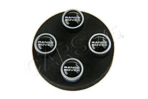 Genuine Land Rover Range Rover Wheel Tyre Black Silver Valve Stem Caps Set Of 4