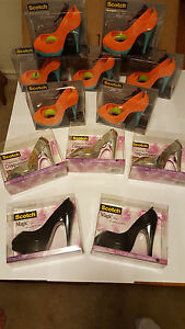 Lot Of 12 Scotch Tape Dispensers High Heel Stiletto Silver Black Orange blue