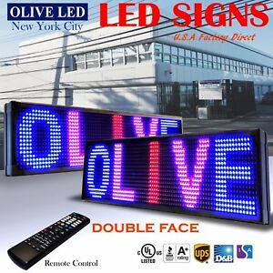 Olive Led Sign 3c Rbp 2face 15 x91 Ir Programmable Scroll Message Display Emc