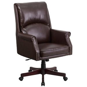 High Back Pillow Back Brown Leather Executive Swivel Office Chair brown New