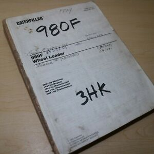 Cat Caterpillar 980f Wheel Loader Parts Manual Book Catalog Front End Pay List