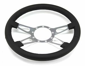 Mustang Steering Wheel Leather Black 4 Spoke W Teardrops 1965 66 67 68 69 71 73