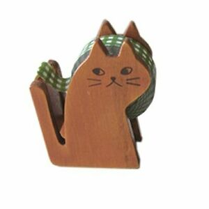 Brown Color Cute Kitty Cat Shape Scotch Tape Dispenser Stand S 4045