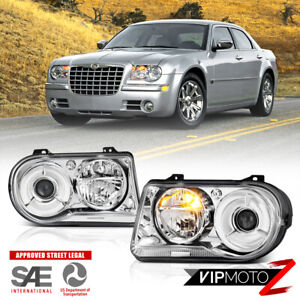 For 05 10 Chrysler 300c Factory Style Chrome Clear Left Right Headlight Assembly