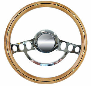 14 Steering Wheel 1932 Up Ford Truck W gm Column Billet Riveted Alder Wood
