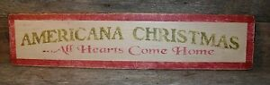Primitive Country Home Decor Distressed Wood Sign 26x6 Americana Christmas