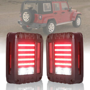Jeep Wrangler Jk Led Tail Lights Reverse Brake Turn Signal Rear Lamps Sae 07 17