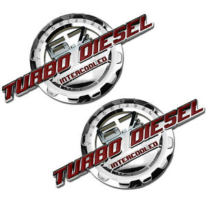 2 Pc Red chrome 6 7 Turbo Diesel Motor Badge For Trunk Hood Door Tailgate A