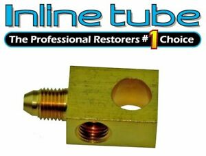 3an Male 7 16 24 Inv Flare Brake Hose Brass Block Tee Stainless Braided Hose