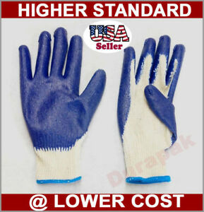 36 Pairs Cotton poly Work Gloves Lg Or X lg W Blue Latex Coated Palm Finger